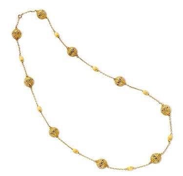 A Gold Filigree Long Chain Necklace, circa 1960