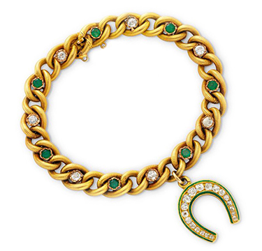 An Antique Emerald, Diamond and Enamel 'Horse Shoe' Charm Bracelet, circa 19th Century