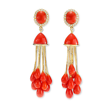 A Pair of Coral and Gold Tassel Ear Pendants, circa 1970