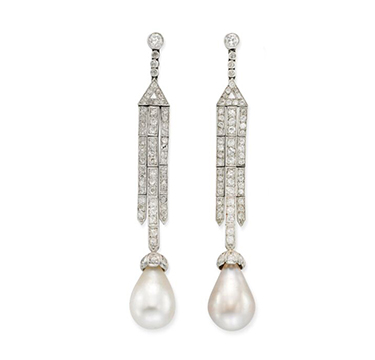 A Pair of Art Deco Natural Pearl Drop and Diamond Ear Pendants, circa 1925