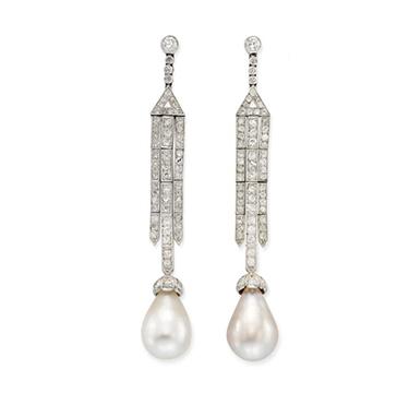 A Pair of Art Deco Natural Pearl Drop and Diamond Ear Pendants, circa 1925