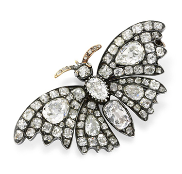 An Antique Old Mine and Old European-cut Diamond Butterfly Pin Brooch, circa 19th Century