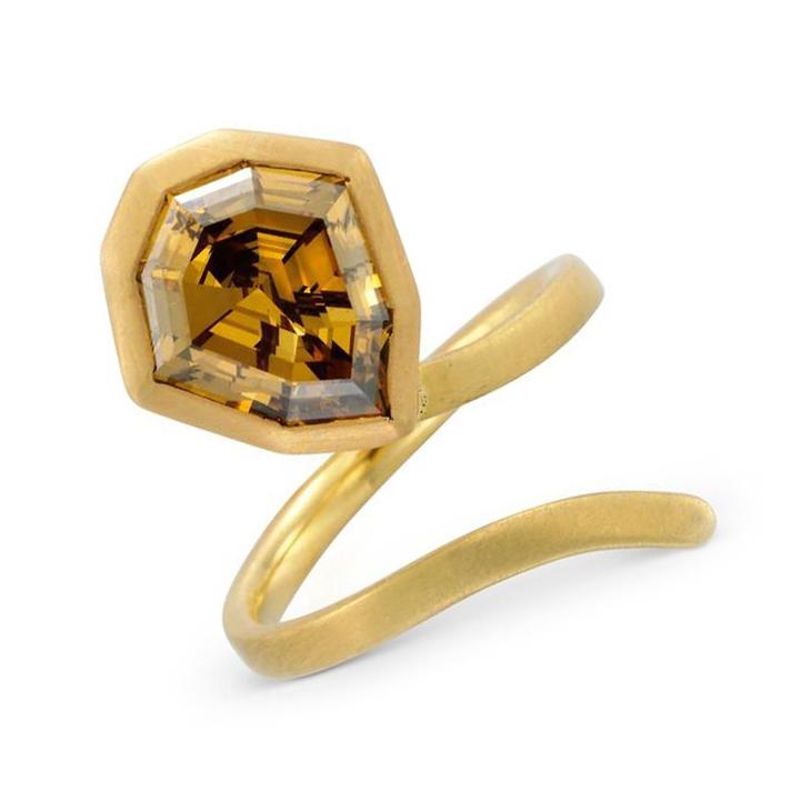 A Shield-shape Fancy Deep Orange Brown Diamond Ring
