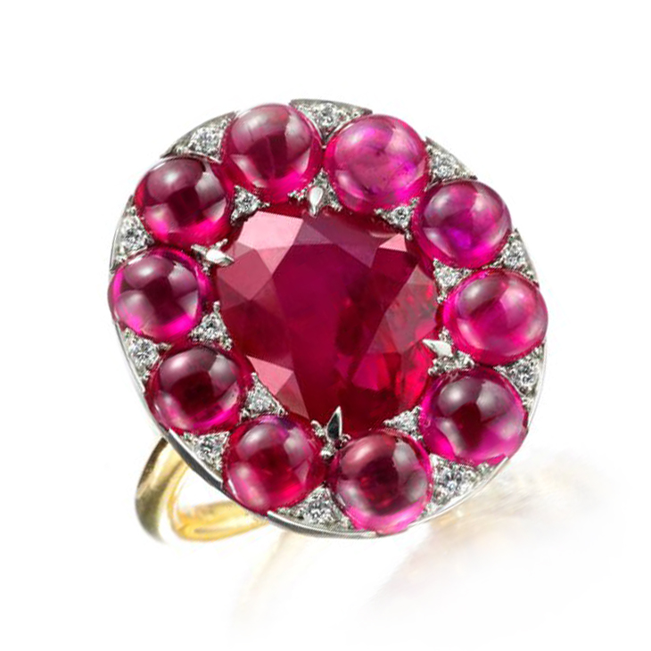 A Burmese Ruby and Diamond Ring, by SABBA