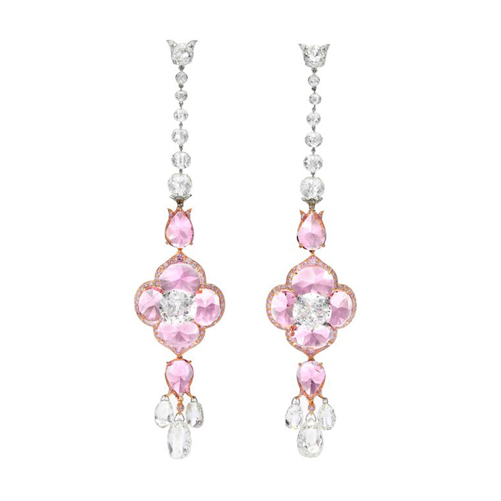 A Pair of Spinel and Diamond Ear Pendants, by Bhagat
