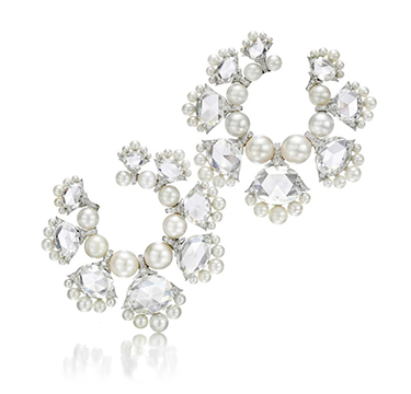 A Pair of Natural Pearl and Diamond Hoop Ear Clips, by Bhagat