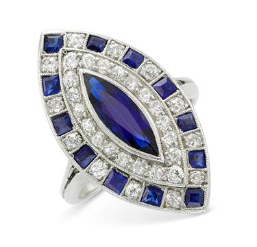 An Art Deco Sapphire and Diamond Navette Plaque Ring, circa 1920