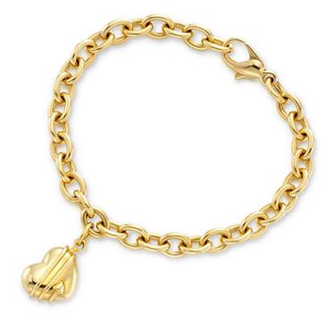 A Gold Heart Charm Bracelet, by Tiffany & Co.