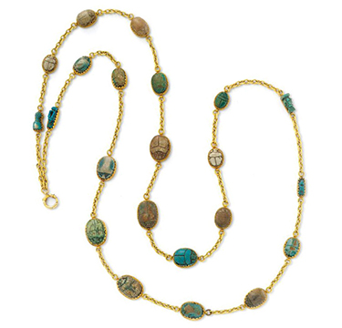 A Gold and Hardstone Scarab Long Chain Necklace