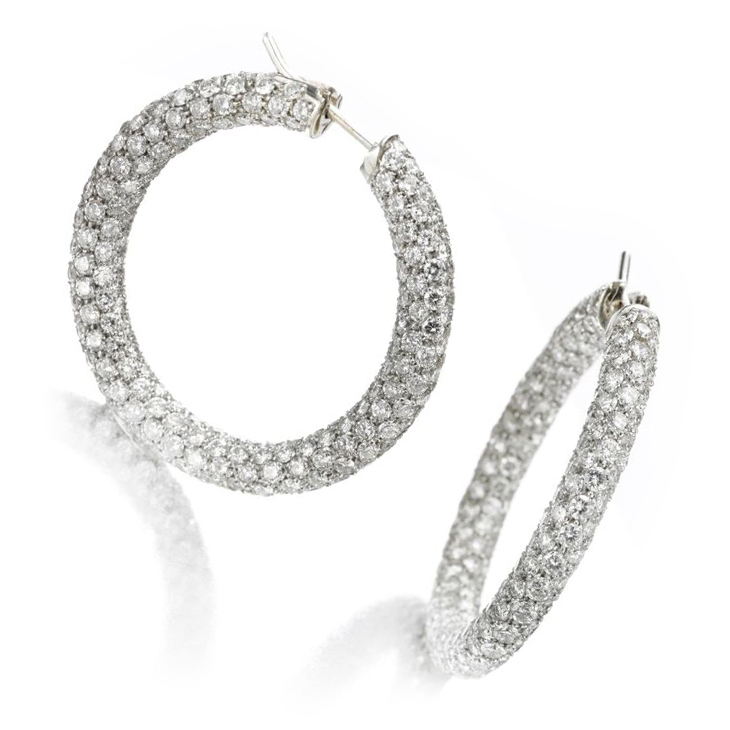 A Pair of Pave Diamond Hoop Earrings, of 16.20 carats