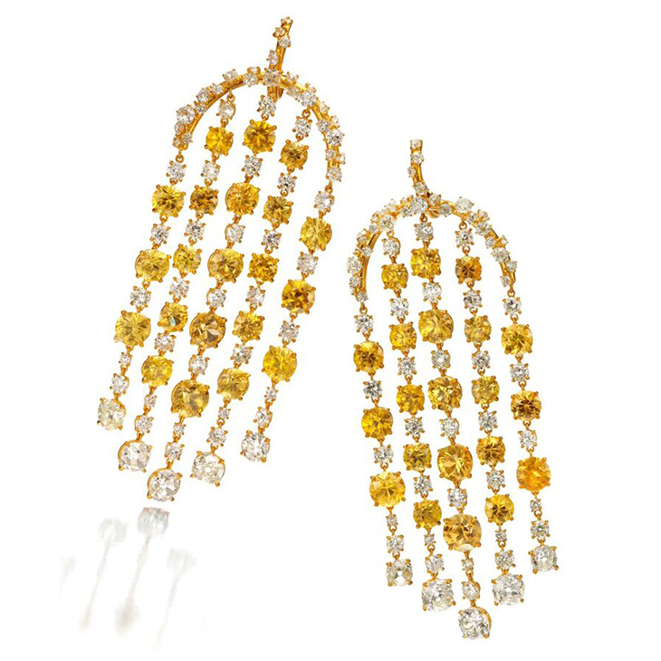 A Pair of Yellow Zircon and Diamond Ear Pendants, by SABBA