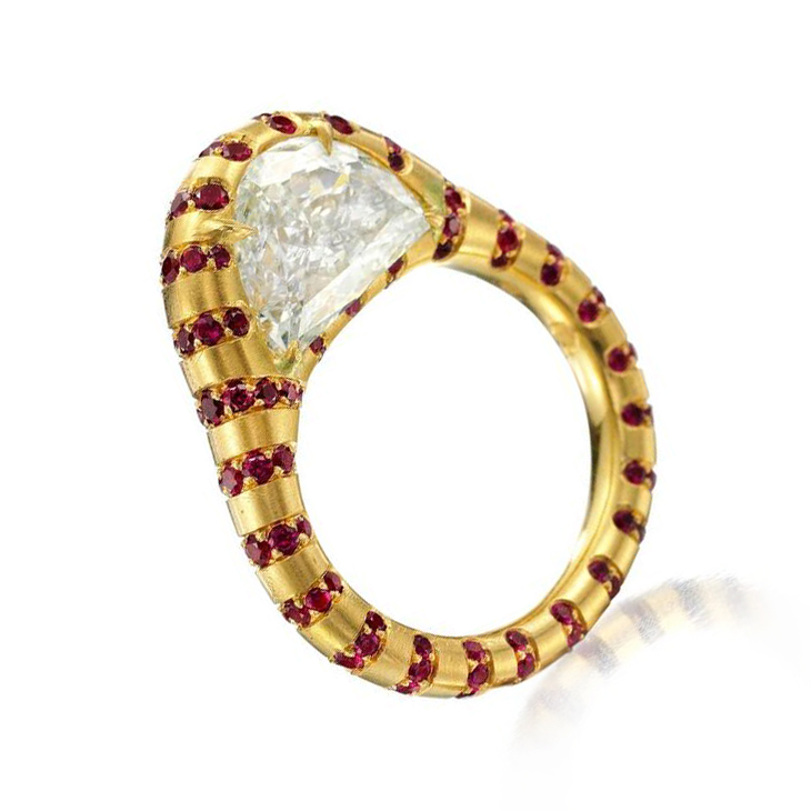 A Half Moon-shaped Diamond and Ruby Ring, by SABBA