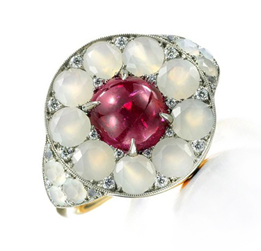 A Ruby, Agate and Diamond Ring, by SABBA