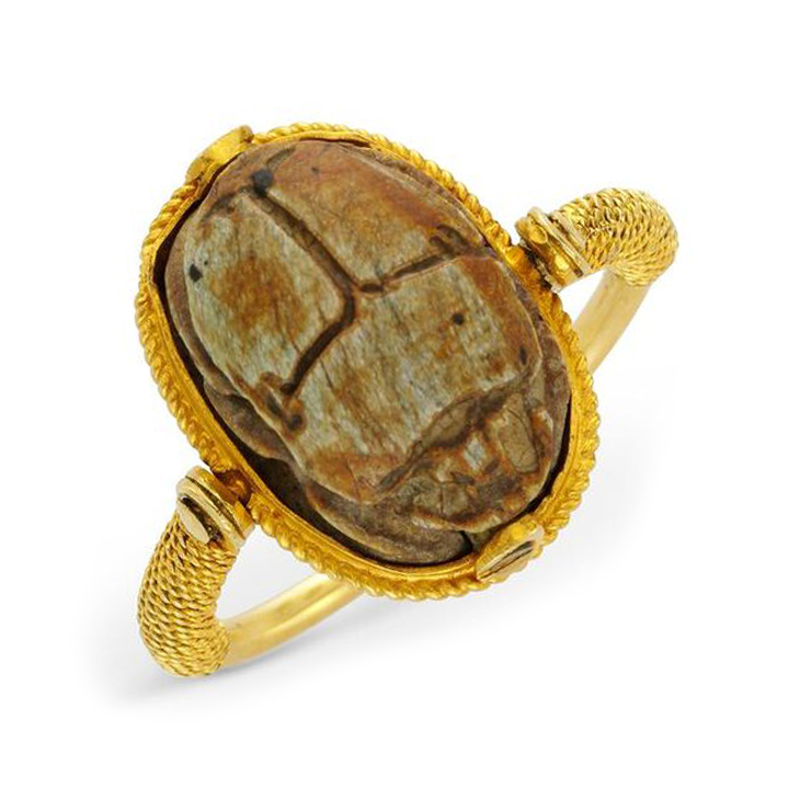 An Antique Ancient Scarab and Gold Ring, circa 19th Century