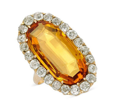 An Antique Imperial Topaz And Diamond Ring, Circa 19th Century