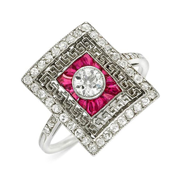 An Art Deco Ruby and Diamond Plaque Ring