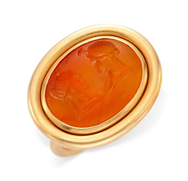 A Carved Agate Intaglio and Gold Ring