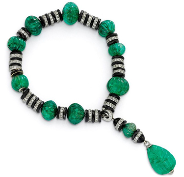 An Art Deco Emerald Bead, Onyx Rondelle and Diamond Tassel Bracelet, circa 1925