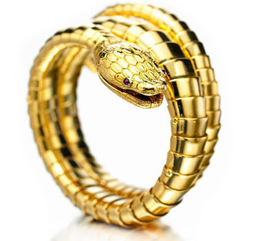 A Gold And Ruby Serpent Bracelet Watch, By Bulgari, Circa 1950