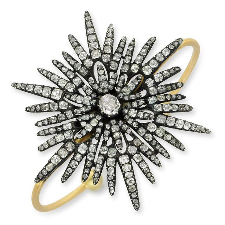 An Old Mine Diamond and Gold Starburst Cuff