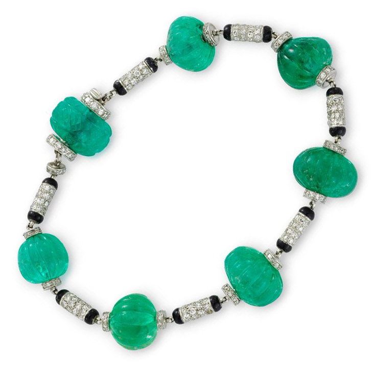 An Art Deco Emerald Bead, Enamel and Diamond Bracelet, circa 1925