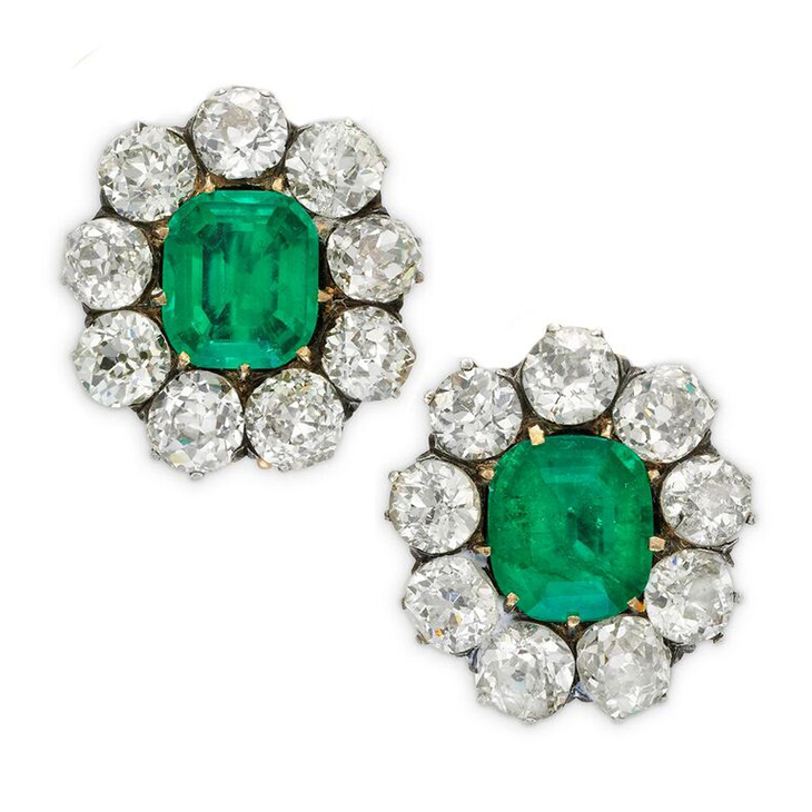 A Pair of Antique Emerald and Diamond Cluster Earrings