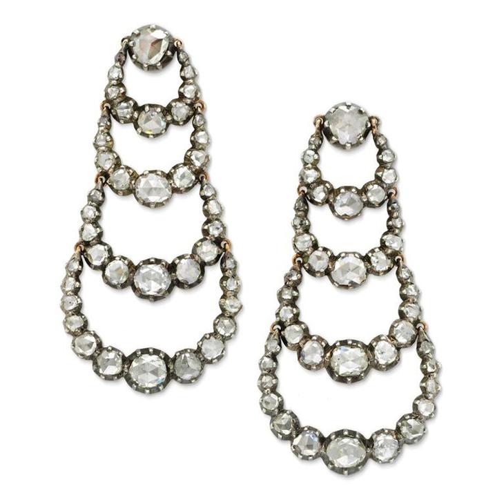 A Pair of Antique Rose-cut Diamond Ear Pendants