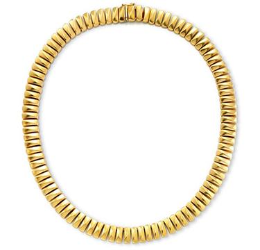An 18k Gold Barrel Link Necklace