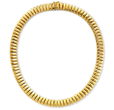 An 18k Gold Barrel Link Necklace