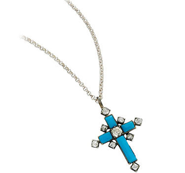 An Antique Glass And Diamond Cross Pendant