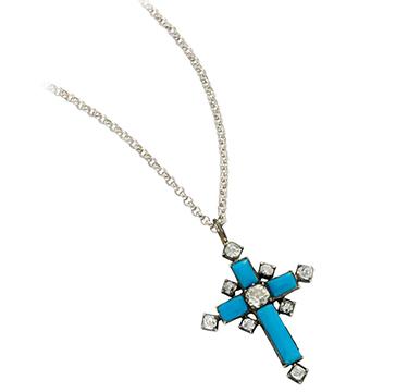 An Antique Glass and Diamond Cross Pendant