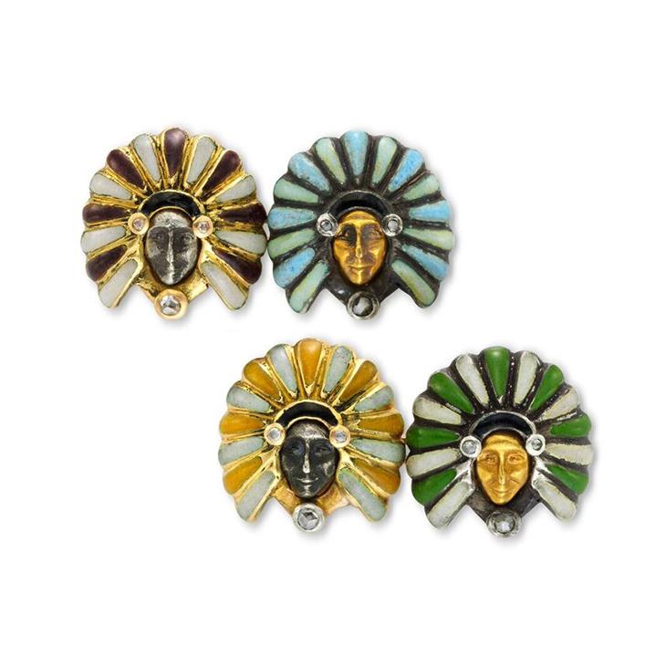 A Pair of Enamel, Diamond and Gold Cufflinks