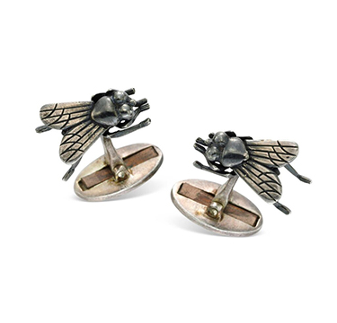 A Pair of Silver Insect Cufflinks, by Francois-Xavier Lalanne