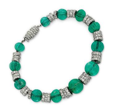 An Art Deco Emerald Bead and Diamond Bracelet, by Cartier, circa 1925