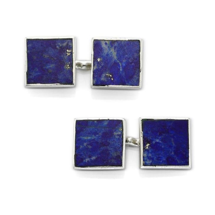 A Pair of Lapis Lazuli and Platinum Cufflinks, by Cartier, circa 1920