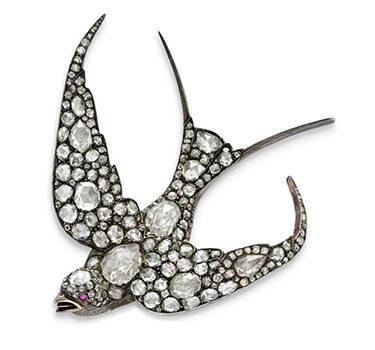An Antique Ruby And Diamond Fowl Brooch, Circa 19th Century
