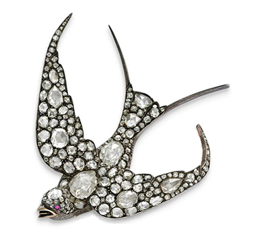 An Antique Ruby and Diamond Fowl Brooch, circa 19th Century