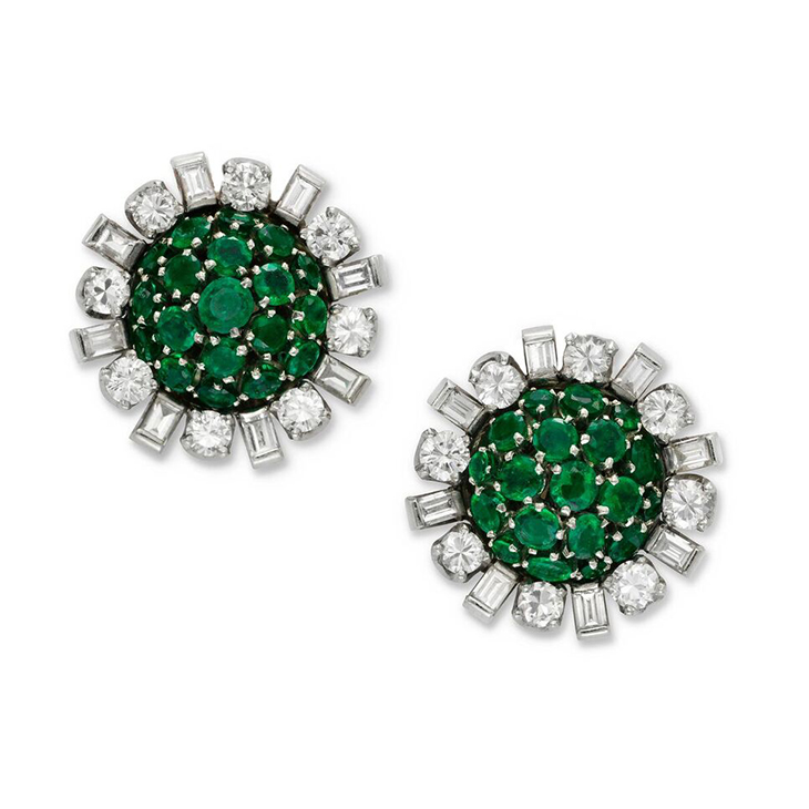 A Pair of Emerald and Diamond Cluster Ear Clips, circa 1960