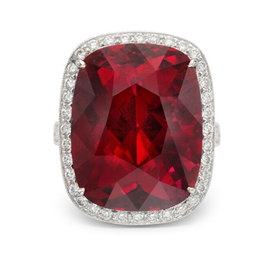 A Rubellite Tourmaline and Diamond Ring, of approximately 25.00 carats