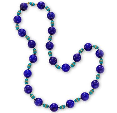 A Lapis Lazuli, Turquoise and Diamond Bead Necklace, circa 1960