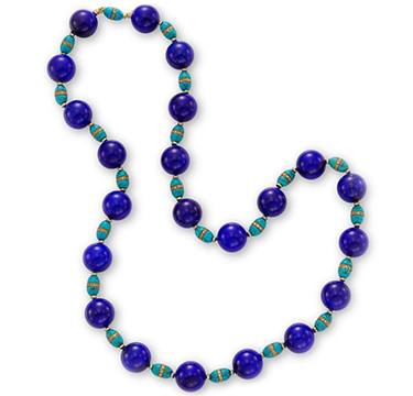 A Lapis Lazuli, Turquoise and Diamond Bead Necklace, circa 1960