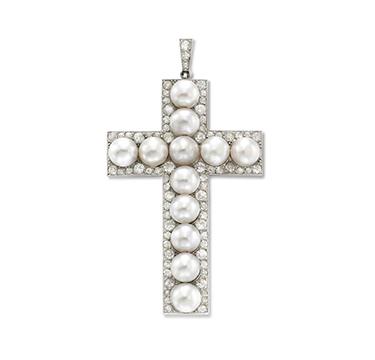A Natural Pearl and Diamond Cross Pendant, circa 1920
