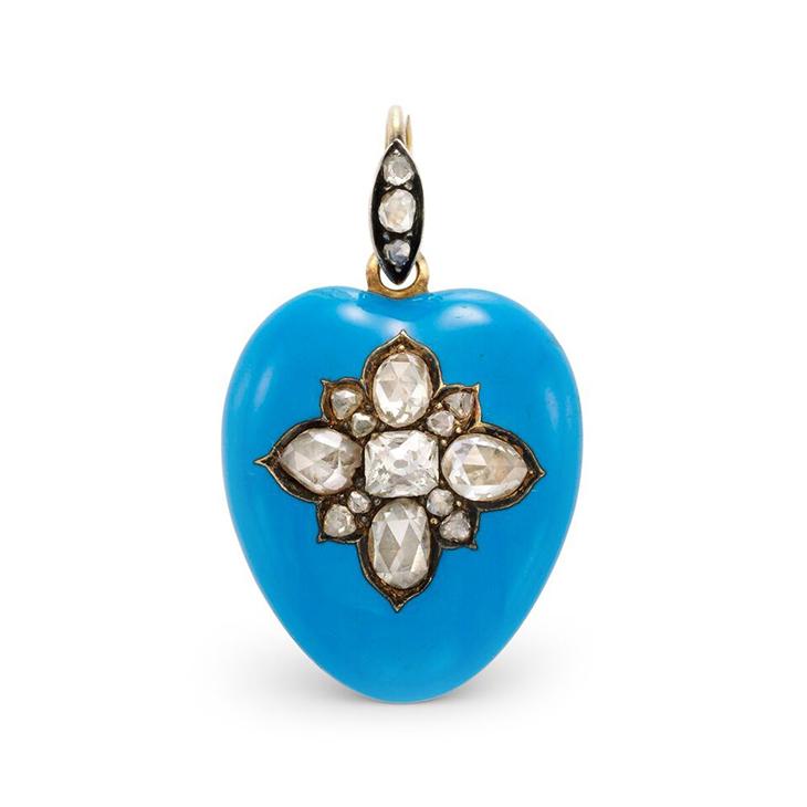 An Antique Enamel and Diamond Heart Pendant, circa 1900