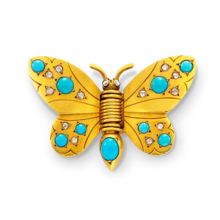 A Turquoise and Diamond Butterfly Brooch, by Boivin, circa 1937
