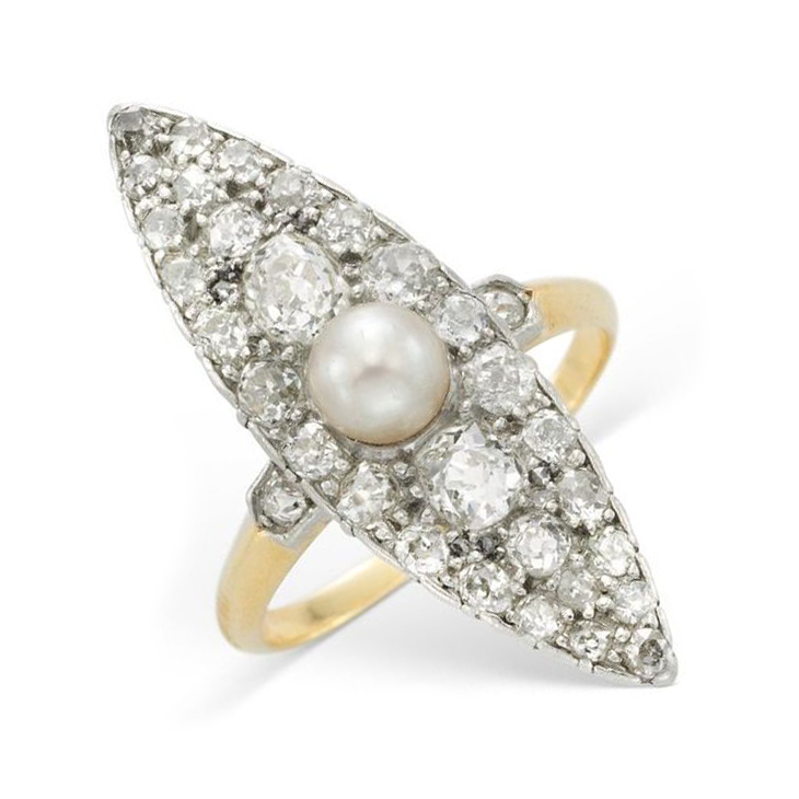 An Edwardian Pearl and Diamond Navette Ring, circa 1905