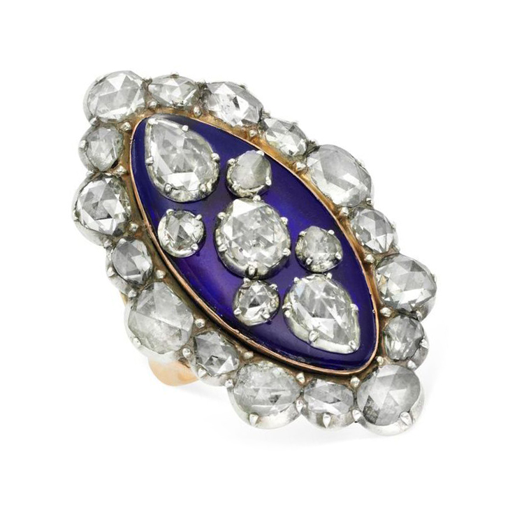 An Antique Rose-cut Diamond and Enamel Plaque Ring, late 19th Century