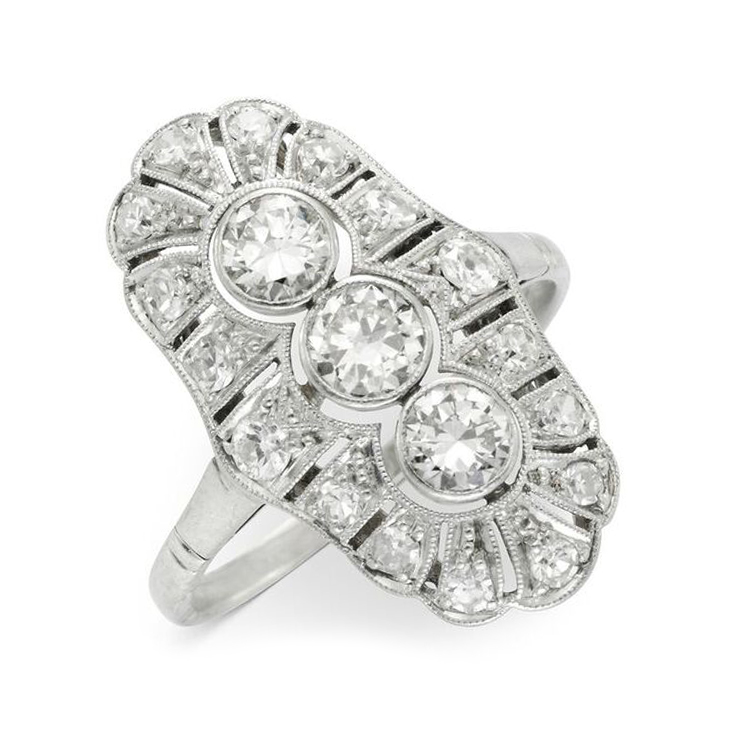An Edwardian Diamond Plaque Ring, circa 1910