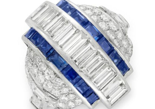 An Art Deco Sapphire And Diamond Bombe Ring, Circa 1930