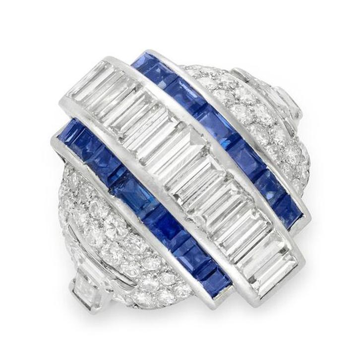 An Art Deco Sapphire and Diamond Bombe Ring, circa 1930