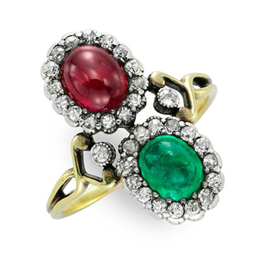 An Antique Ruby, Emerald and Diamond Twin Stone Ring, set in Gold and Silver, circa 1900